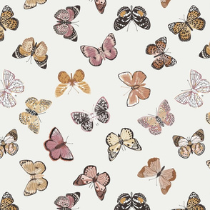 butterflies fabric - baby bedding, baby girl fabric, baby fabric, nursery fabric, butterflies fabric, muted colors fabric, earth toned fabric -  off white