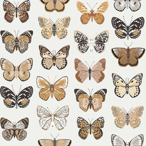 butterflies fabric - baby bedding, baby girl fabric, baby fabric, nursery fabric, butterflies fabric, muted colors fabric, earth toned fabric -  yellow