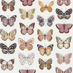 butterflies fabric - baby bedding, baby girl fabric, baby fabric, nursery fabric, butterflies fabric, muted colors fabric, earth toned fabric -  earthy