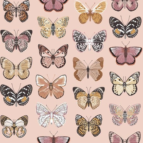 butterflies fabric - baby bedding, baby girl fabric, baby fabric, nursery fabric, butterflies fabric, muted colors fabric, earth toned fabric -