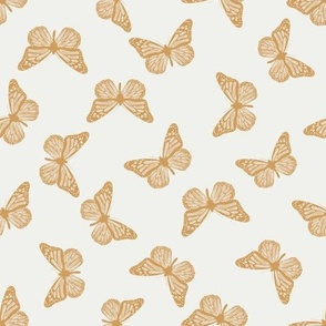 butterfly fabric - girl butterfly fabric, rust baby fabric, earth toned fabric - oak leaf