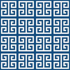 Greek key Pantone 2020 classic blue & cream