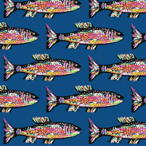 Rainbow trout on a Pantone 2020 Classic Blue Background-ch