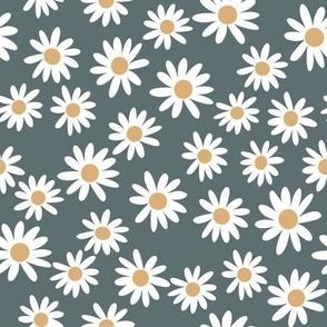 daisy print fabric - daisies, daisy fabric, baby fabric, spring fabric, baby girl, earthy - spruce