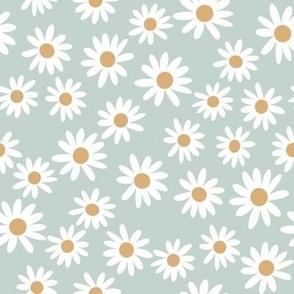 daisy print fabric - daisies, daisy fabric, baby fabric, spring fabric, baby girl, earthy - sage