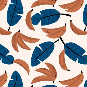 Bananas and banana leaves tropical fruit jungle design lush garden classic blue rust copper