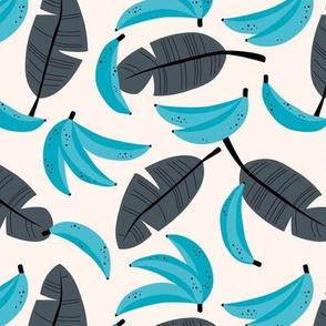 Bananas and banana leaves tropical fruit jungle design lush garden classic blue aqua