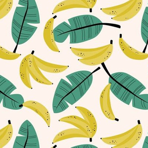 Bananas and banana leaves tropical fruit jungle design lush garden yellow sagegreen