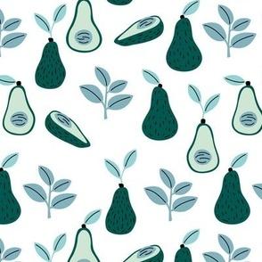 Romantic avocado garden leaves spring summer vegan design blue green