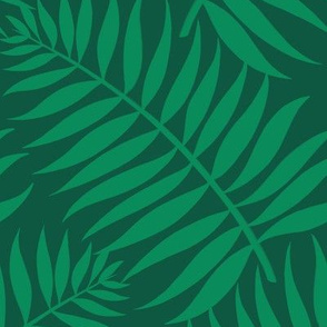 Palm Fronds - emerald on dark green