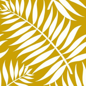 Palm Fronds - White on Ochre by Heather Anderson