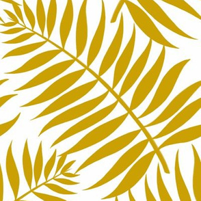 Palm Fronds - Ochre on White