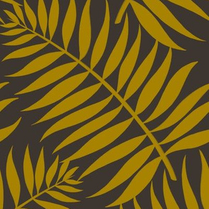 Palm Fronds - Ochre on Black by Heather Anderson