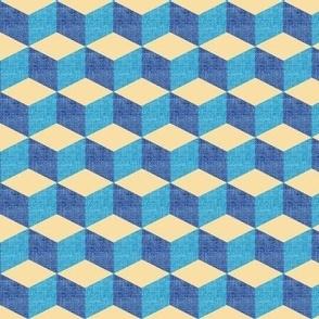 classic blue cube geometric pattern