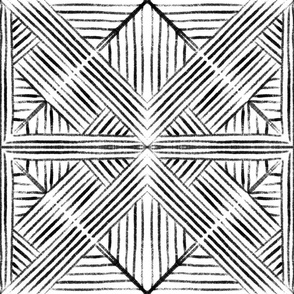 Geometric painting black and white - XL