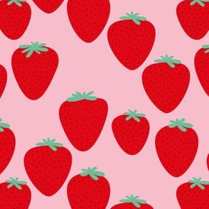 Strawberry fields fruit garden summer design soft pink red
