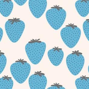 Strawberry fields fruit garden summer design off white blue