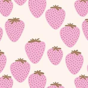 Strawberry fields fruit garden summer design off white pink