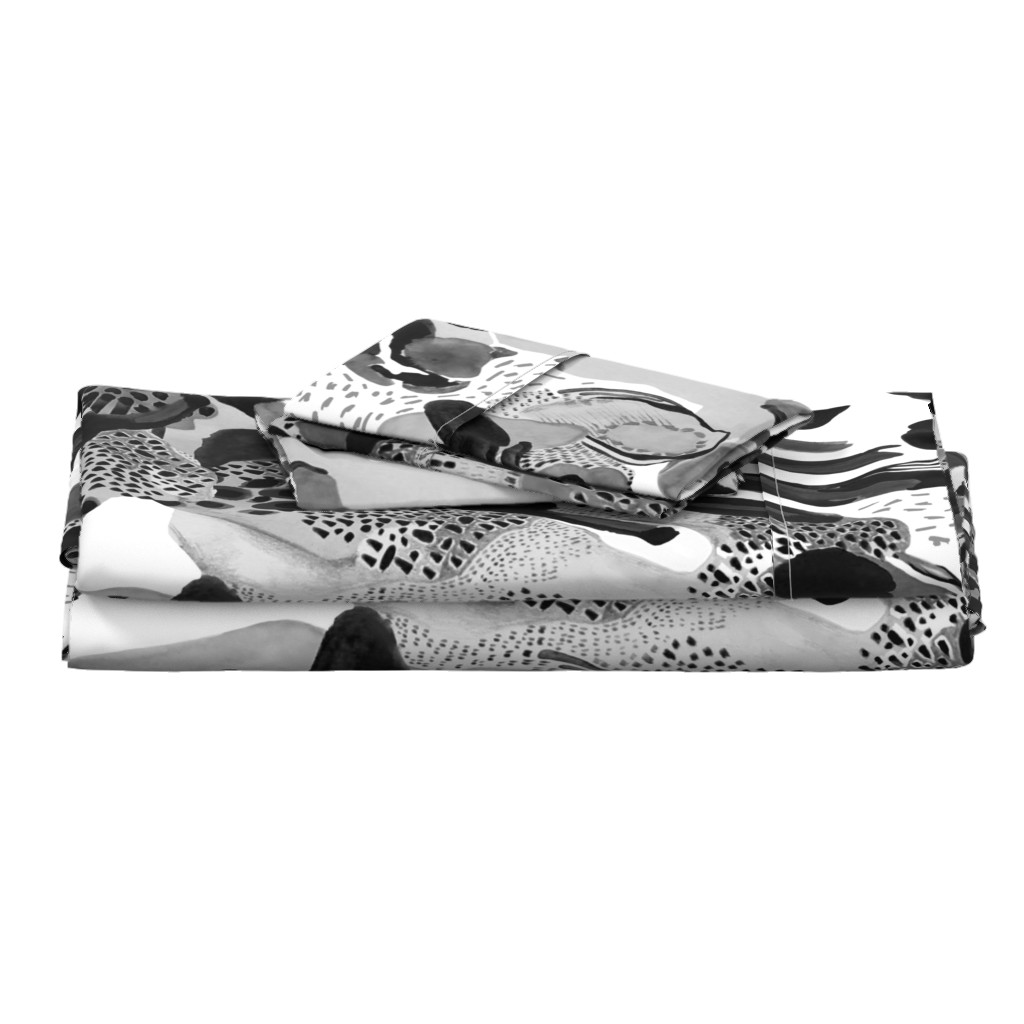 Langshan Full Bed Set featuring black and white abstract painting by katiekortman