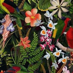 """8"""" Vintage Parrot Tropical Garden Jungle black"""