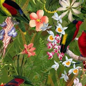 "8"" Vintage Parrot Tropical Garden Jungle Green"