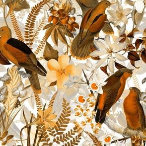 "8"" Vintage Parrot Tropical Garden Jungle Sepia"