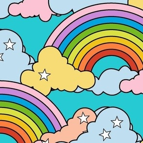 Rainbows to the Max* {Recolored} (Maxed-Out Television Blue) || rainbow clouds stars 80s retro pop art pride children kids baby nursery