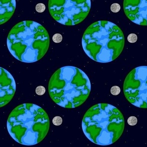 Earth and Moon Space View Nature Element