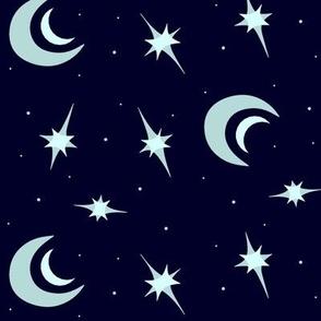 Moon and Stars  Stylized Cosmic Scene Nature Element