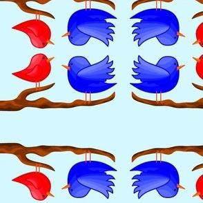 Bluebird Cardinal on a Branch Nature Element