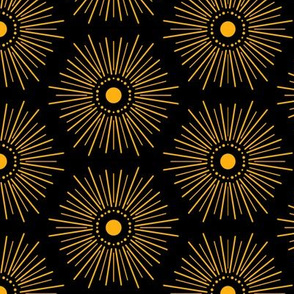 Stylized Sun on Black Nature Element