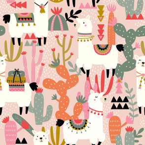 Alpaca and Cactus Pattern on Pink Background