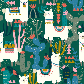 Alpaca and Cactus Pattern on Green Background