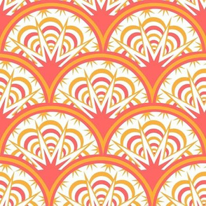 coral and yellow art deco fan scallop in coral and sunny yellow