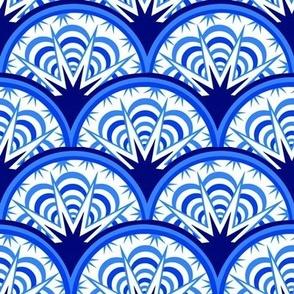 blue art deco fan