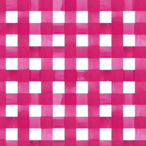 Pink gingham watercolour check pattern