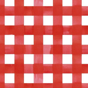 Red gingham watercolour check pattern