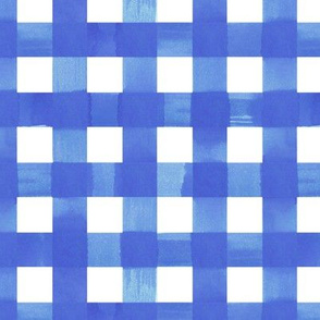 Classic blue  gingham watercolour check pattern