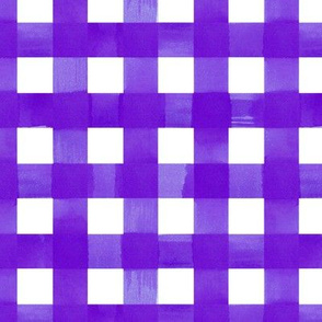 Eggplant purple gingham watercolour check pattern