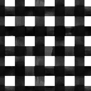 Black and white gingham watercolour check pattern