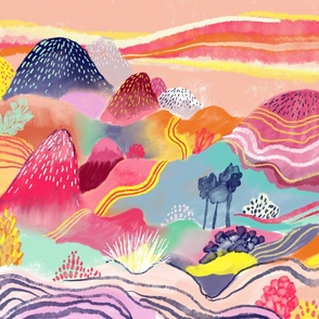 Candy coloured landscape abstract