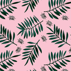 Watercolors palm leaves tropical beach minimal jungle island garden pink emerald green