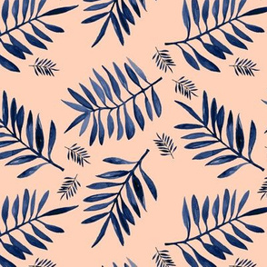 Watercolors palm leaves tropical beach minimal jungle island garden apricot navy blue