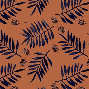 Watercolors palm leaves tropical beach minimal jungle island garden rust copper navy blue