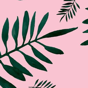 Watercolors palm leaves tropical beach minimal jungle island garden soft pink emerald green JUMBO