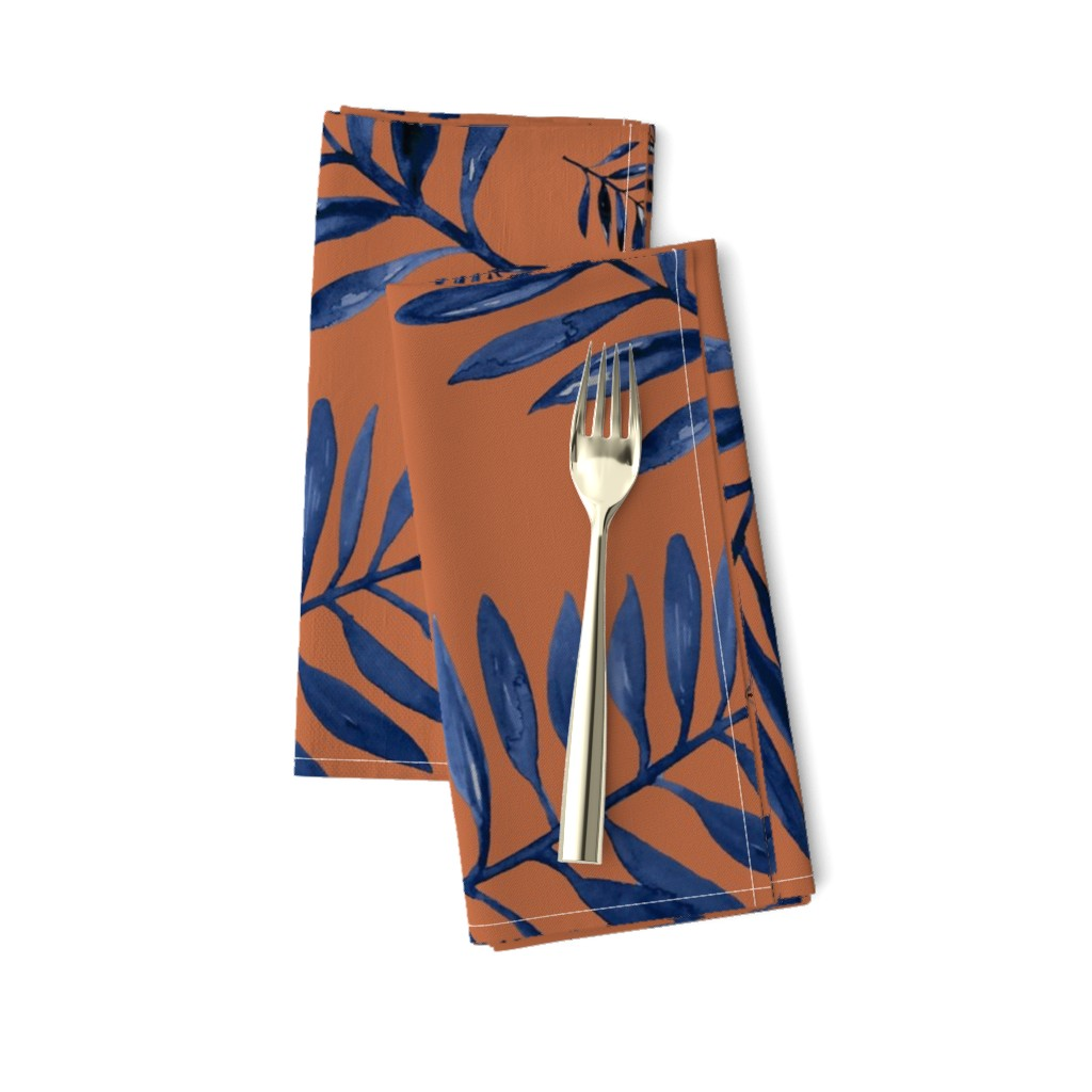 Amarela Dinner Napkins featuring Watercolors palm leaves tropical beach minimal jungle island garden rust copper navy blue JUMBO by littlesmilemakers