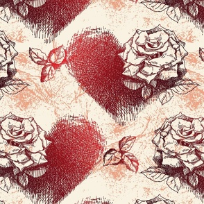 Rose and heart for Valentine.