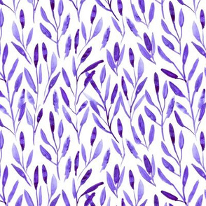 Purple watercolor leaves ★ painted leaf pattern for modern home decor, bedding, nursery