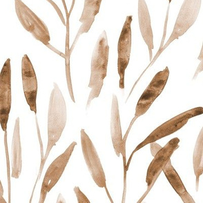 Boho watercolor leaves for neutral modern home decor, bedding, nursery
