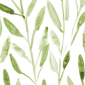 Khaki watercolor leaves ★ large scale painted green nature for modern home decor, bedding, nursery in neutral shades